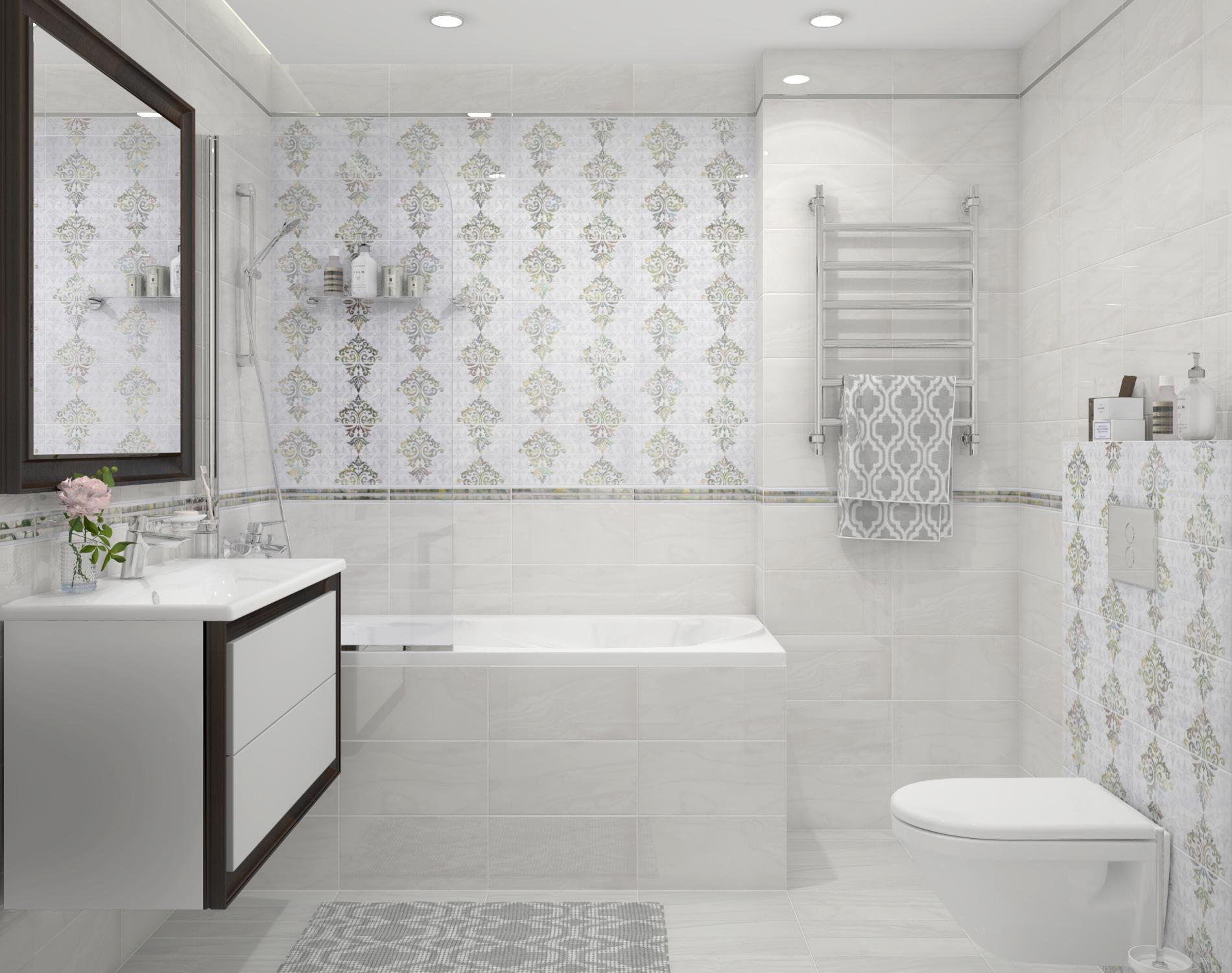 Белая плитка в ванной комнате